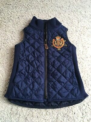 Ralph Lauren Polo Equestrian Blue Quilted Riding Vest Toddler Size 4