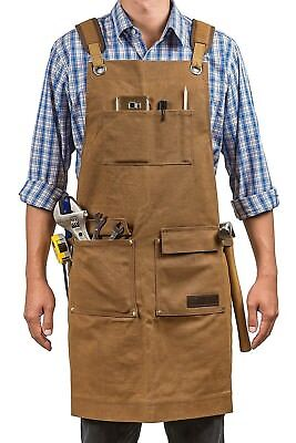 Waxed Canvas Workshop Apron | Heavy Duty Work Apron with Pocket. Top Quality NEW