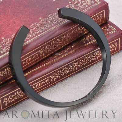 Onyx Black Plain Elegant Simple Cremation Memorial Urn Ash Holder Cuff Bracelet