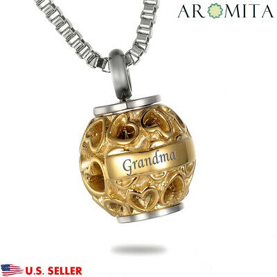 "Grandma ""Always in my heart"" Cremation Memorial Keepsake Urn Ash Holder Necklace"