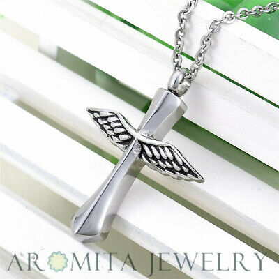 My Guardian Angel Wings Cross Cremation Memorial Urn Ash Holder Necklace