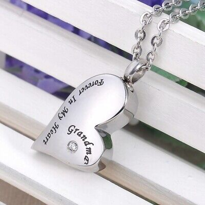 Grandma Forever In My Heart Crystal Cremation Memorial Urn Ash Holder Necklace