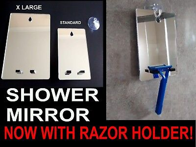 Shower Shaving Mirror-With Razor Holder,Strong Safe Shatter Proof,With FREE Hook