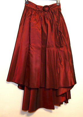 Girls/Teens Long Metallic Red Asymmetric Flare Skirt Wrap Ballroom Salsa 11/12