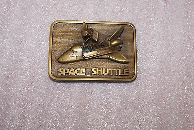 Vintage 1980 3D NASA Space Shuttle Belt Buckle The Connection Brass