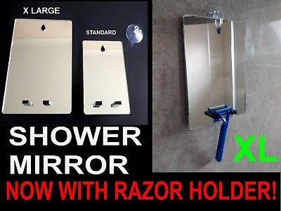 XL Shower Shaving Mirror.With Razor Holder,Strong Safe Shatter Proof,+FREE Hook!