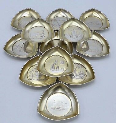 PASTORAL SET 12 Dominick & Haff Sterling BUTTER PATS NUT Dishes