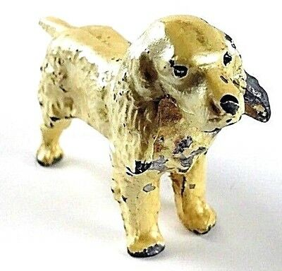 Vintage Collectible Painted Cast Iron Metal Spaniel Dog Toy Paper Weight