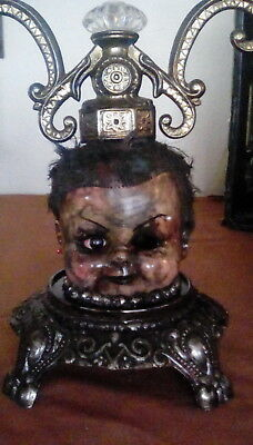 Dollhead Lamp/ Nightlight Creepy Unusual Ooak Gothic Repurposed Horror  Scary Art