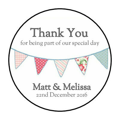 105 Personalised Bunting Wedding Stickers/Labels