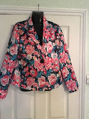 Ladies Floral Lined Jacket  Size Eur Xl  Spring Summer Smart Office Wear