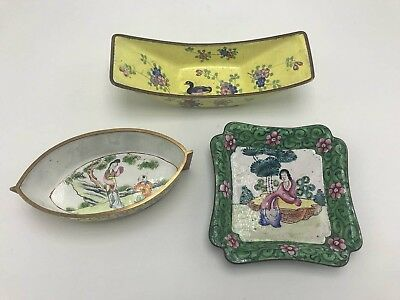A Group Of Three Small Chinese Cloisonne Enamel Dishes
