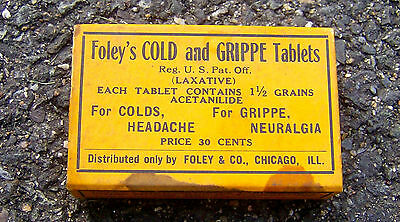 RARE antique 1900 FOLEY'S COLD & GRIPPE TABLETS vintage pill box MEDICAL doctor