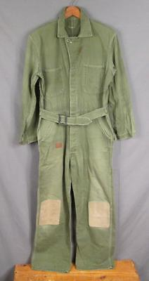 Vintage 1950s US Army Cotton Work Coveralls Military Workwear Patches Distressed