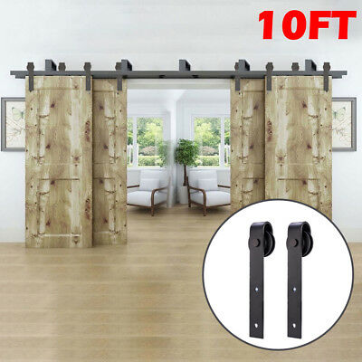 10FT Bypass Rustic Barn Wood Door Hardware Closet Sliding Rail Kit for 4 Doors