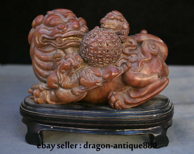 """8"""" Chinese Old Shoushan Stone Hand-Carved Foo Fu Dog Lion Son Play Ball Statue"""
