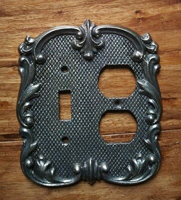 Vintage Heavy Ornate Antique Metal Dual Outlet Switch Plate Wall Cover