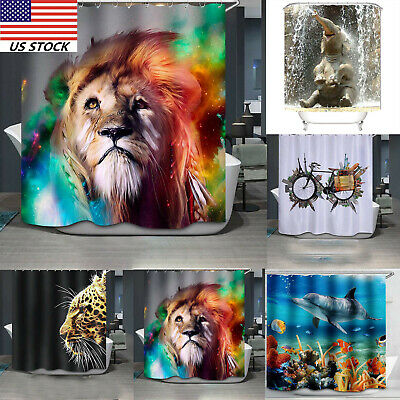 Fabric Waterproof Bathroom Shower Curtain Panel Sheer Decor with Hooks 180*180cm