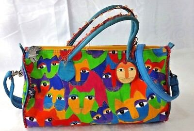 Laurel Burch Artist Cat Art Shoulder Tote Bag Purse Zipper Canvas Handbag
