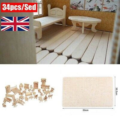 34Pcs/ Set Vintage Wooden Furniture Dolls House Miniature Toys Kids Gifts New
