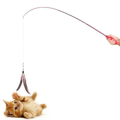 Retractable Teaser Cat Catcher Fishing Pole Wand Rod with 2pcs Assorted Feather