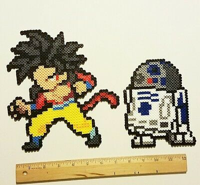 Goku Super Saiyan 4 or R2D2 Star Wars (pick 1)  perler bead art wall art
