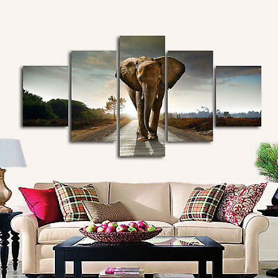 5 Panels Floral Abstract Flowers Print Pictures Canvas Wall Art Deco Unframed