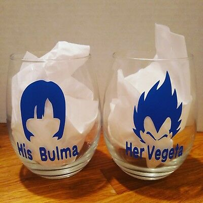 dragon ball bulma and vegeta couples wine glass set