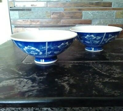 Set 2 Chinese Hand Painted Lotus Flower Porcelain Rice Bowls Signed EUC