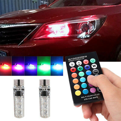 LED T10 Remote Control W5W 501 RGB Color Changing Car Wedge Side Light Bulbs