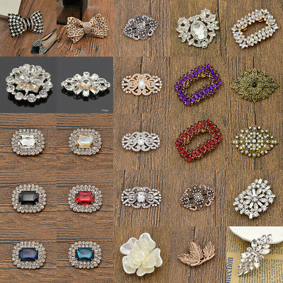1 Pc Vintage Rhinestone Flower Shoe Clip Buckle Removable Charm Wedding Women