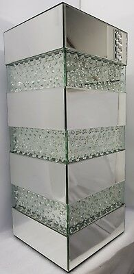Side End Table Square Sparkly Silver Mirrored Floating Crystal Tall 31x31xH75cm