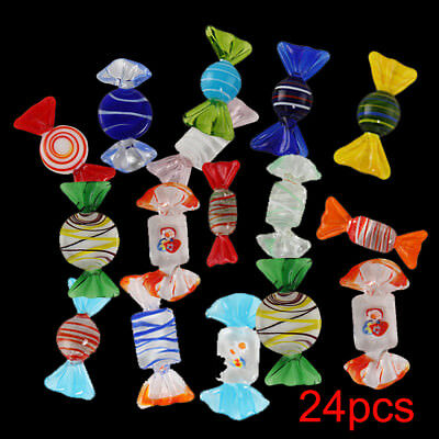 24pcs Vintage Murano Glass Sweets Wedding Party Candy Christmas Decorations New
