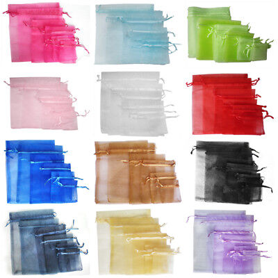 25/100Pcs 12 Color Luxury Organza Wedding Jewellery Gift Bags Favour Pouch Decor