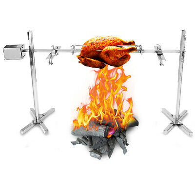 New Large Grill Rotisserie Spit Roaster Rod Charcoal BBQ Pig Chicken 15W Motor