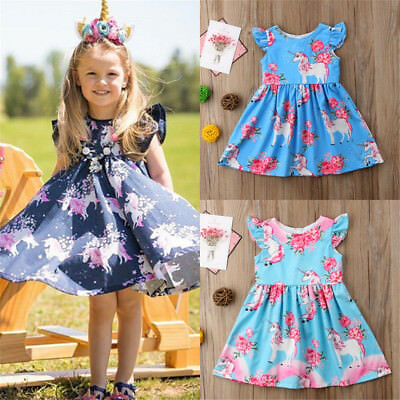 USA Toddler Kids Baby Girls Unicorn Floral Party Pageant Dress Sundress Clothes