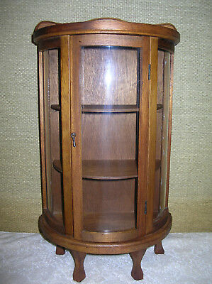 "VINTAGE  PETITE  22""  CURIO  CABINET  WOOD  DISPLAY  CASE  w/ CURVED  PLEXIGLASS"
