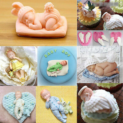 3D Sleeping Baby Bear Silicone Fondant Cake Mould Chocolate Jelly Boy Mold Decor