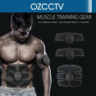 Muscle Training Gear ABS Stimulator Trainer Fit Body Home Workout Exercise Black