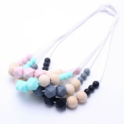 New Hexagon Silicone Beads Wooden Teething Necklace Cute Baby Sensory Jewellery