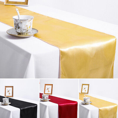 10X Bulk Satin Sequin Table Runner Party Wedding Home Decoration Red/Black/Gold