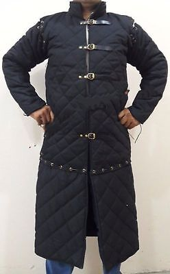 Medieval Viking thick padded Black Gambeson With Removable Sleeves Jacket a