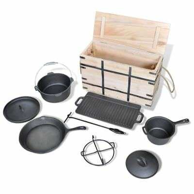 Dutch Oven Set 9pcs Cast Iron Cookware Set Wooden Box Ideal for Camping