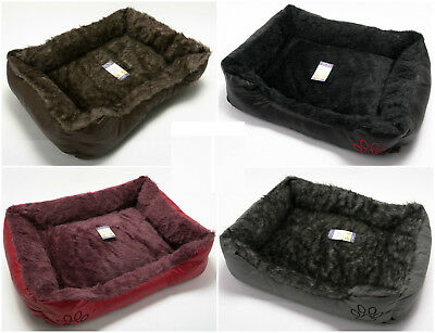 Pet Dog Cat Warm Basket Comfy Soft Rex Leather & Washable Fur Bed Cushion Puppy