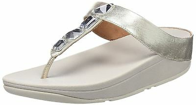 795be7c9fe1 NEW WOMENS FITFLOP Metallic Silver Roka Toe Thong Leather Sandals ...