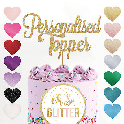 Custom Cake Topper Any Word Name Personalised Customised Gold Glitter Decoration