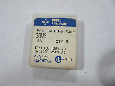 (5) Gould Shawmut GGM3 Fast Acting Fuses 3A 125/250V NEW!!! with Free Shipping