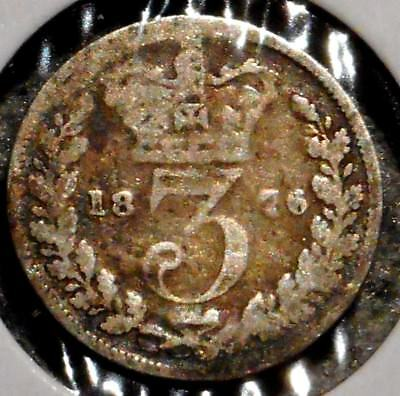 British Silver Threepence - 1876 - Queen Victoria - $1 Unlimited Ship