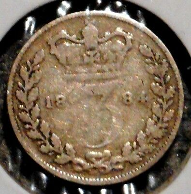 British Silver Threepence - 1884 - Queen Victoria - $1 Unlimited Ship