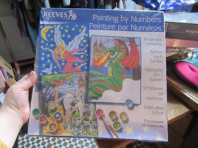 Reeves Large  Paint by Numbers Fairy tales, Unicorn, Fairy & Dragon, SET OF 3